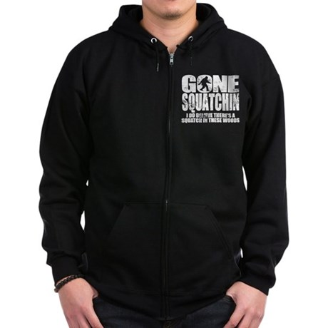 Gone Squatchin (distressed faded) Zip Hoodie