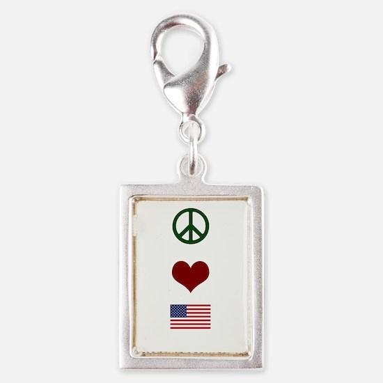 Peace Love America Silver Portrait Charm
