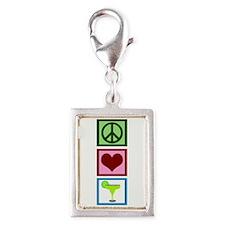 Peace Love Margaritas Silver Portrait Charm