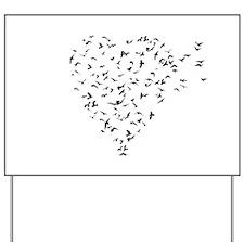Flock of Birds Love Heart Yard Sign