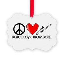 Peace, Love, Trombone Ornament