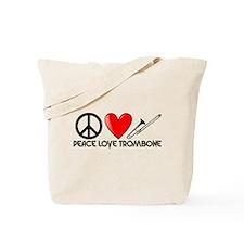 Peace, Love, Trombone Tote Bag
