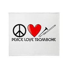 Peace, Love, Trombone Throw Blanket