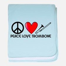 Peace, Love, Trombone baby blanket