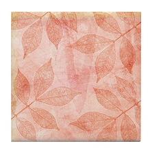 Peach Leaves Tile Coaster