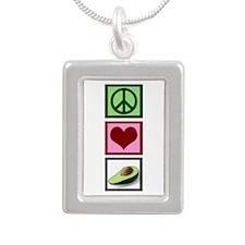 Peace Love Avocado Silver Portrait Necklace