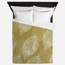 Gold Leaves Queen Duvet