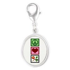 Peace Love Vegetarian Silver Oval Charm