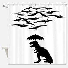 T-Rex vs the Pterodactyls Shower Curtain