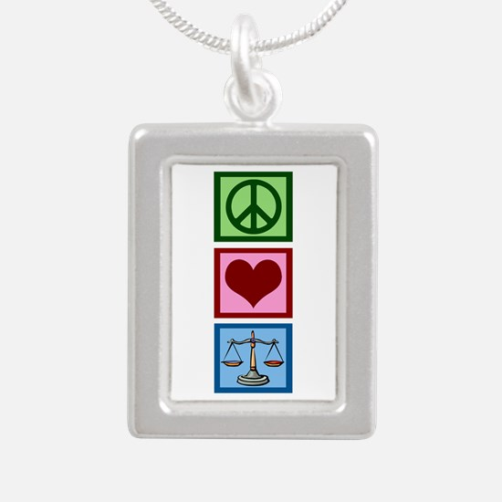 Peace Love Law Silver Portrait Necklace