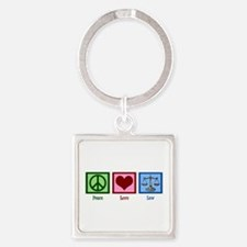 Peace Love Law Square Keychain