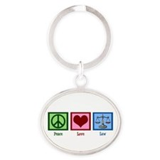 Peace Love Law Oval Keychain