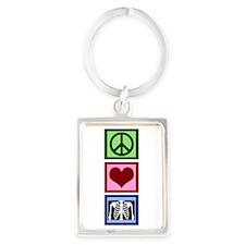 Peace Love Radiology Portrait Keychain