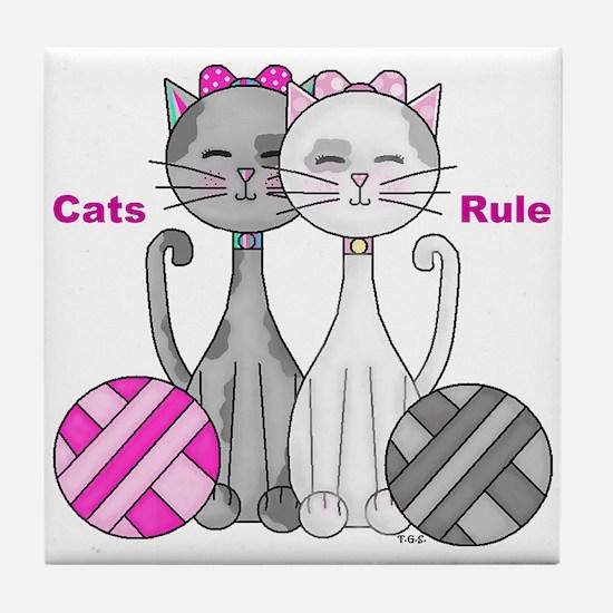 Cats Rule Tile Coaster