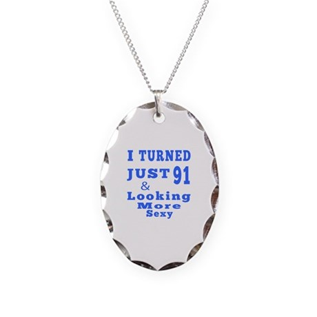 91 birthday designs Necklace Oval Charm