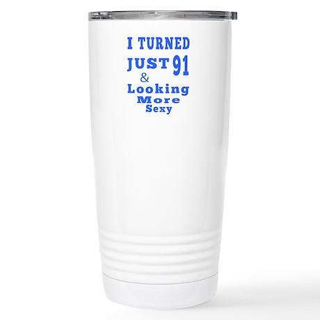 91 birthday designs Stainless Steel Travel Mug