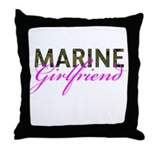 Marine Girlfriend Woodland Throw Pillow