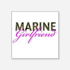 "Marine Girlfriend Woodland Square Sticker 3"" x 3"""