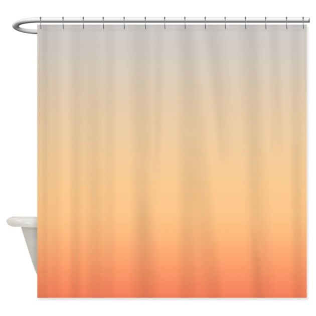 gray and peach shower curtain by coppercreekdesignstudio