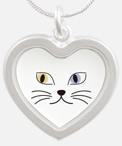 Charming Odd-eyed Cat Silver Heart Necklace