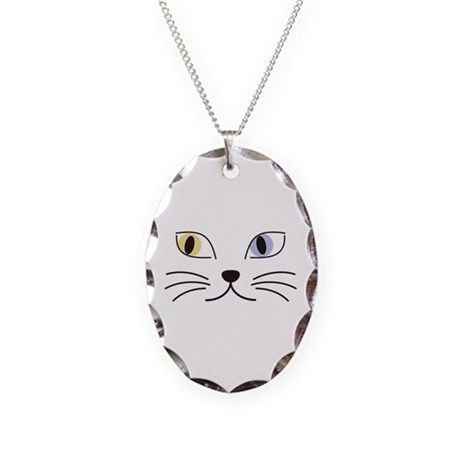 Charming Odd-eyed Cat Necklace Oval Charm