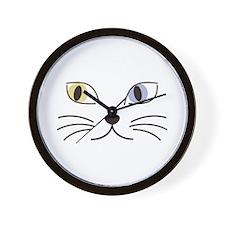 Charming Odd-eyed Cat Wall Clock