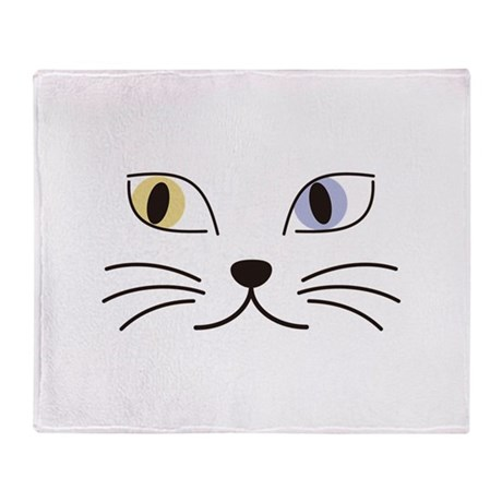 Charming Odd-eyed Cat Throw Blanket