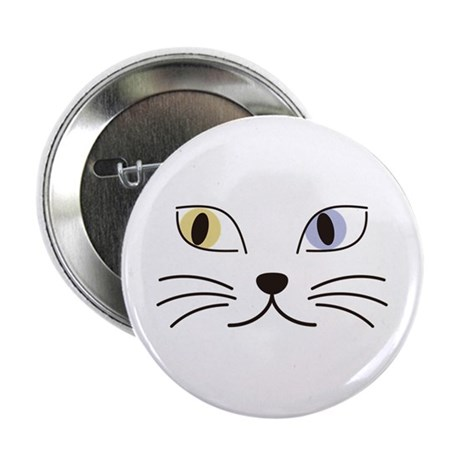"""Charming Odd-eyed Cat 2.25"""" Button"""