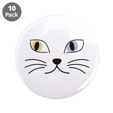 "Charming Odd-eyed Cat 3.5"" Button (10 pack)"