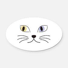 Charming Odd-eyed Cat Oval Car Magnet