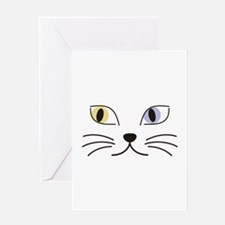 Charming Odd-eyed Cat Greeting Card