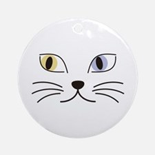 Charming Odd-eyed Cat Ornament (Round)