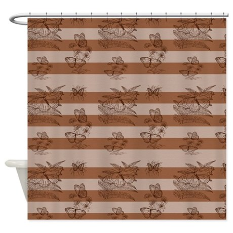 Brown Stripes and Butterflies Shower Curtain