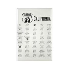 US Route 99 - California Rectangle Magnet w/cities