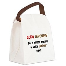 Code Brown Nurse Canvas Lunch Bag