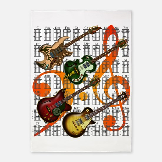 Guitar and Chord 07 5'x7'Area Rug