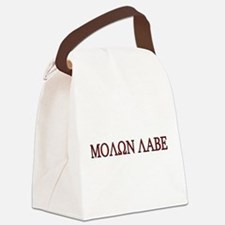 Molon Labe Black border.png Canvas Lunch Bag