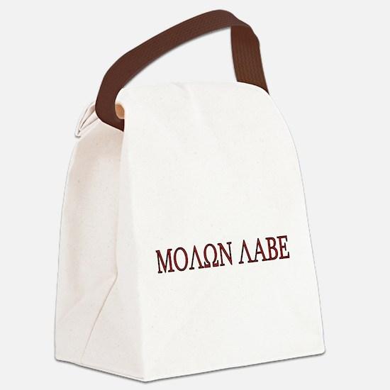 Molon Labe Black border.png Canvas Lunch Bag