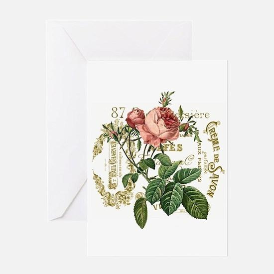 Pink Rose French ephemera Greeting Card