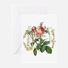 Pink Rose French ephemera Greeting Cards (Pk of 10