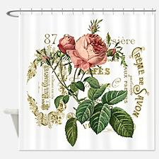 Pink Rose French ephemera Shower Curtain