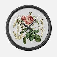 Pink Rose French ephemera Large Wall Clock