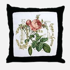 Pink Rose French ephemera Throw Pillow