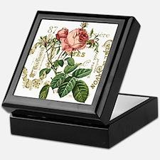 Pink Rose French ephemera Keepsake Box