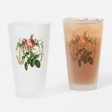 Pink Rose French ephemera Drinking Glass
