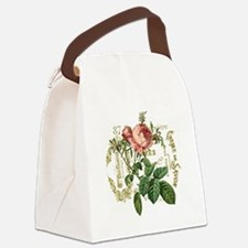 Pink Rose French ephemera Canvas Lunch Bag