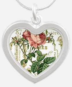 Pink Rose French ephemera Silver Heart Necklace