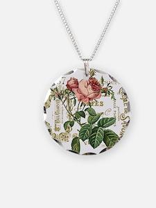 Pink Rose French ephemera Necklace