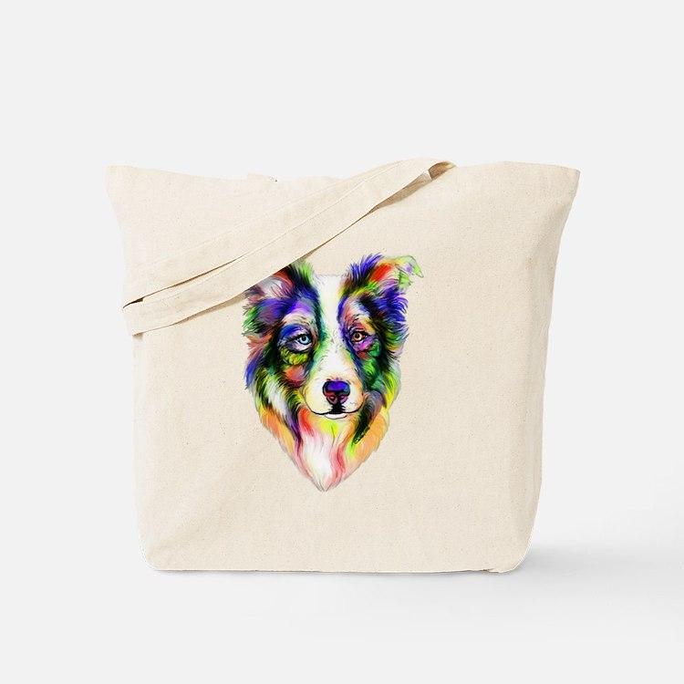Bright Border Collie Tote Bag