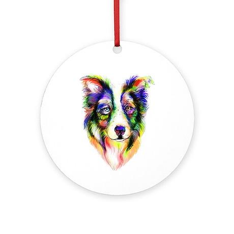 Bright Border Collie Ornament (Round)